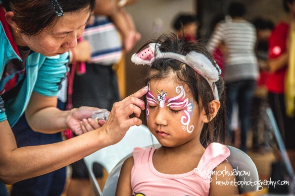 Natasha trying the face painting.